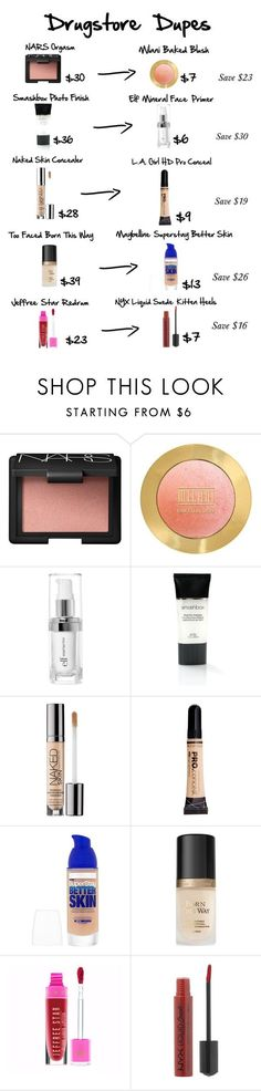"""Drugstore Dupes"" by niclex ❤️ liked on Polyvore featuring beauty, NARS Cosmetics, e.l.f., Smashbox, Urban Decay, Maybelline, Too Faced Cosmetics and NYX"