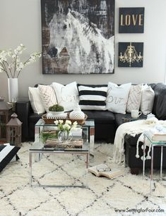 Living Room Area Black Couch Decor With Sofa