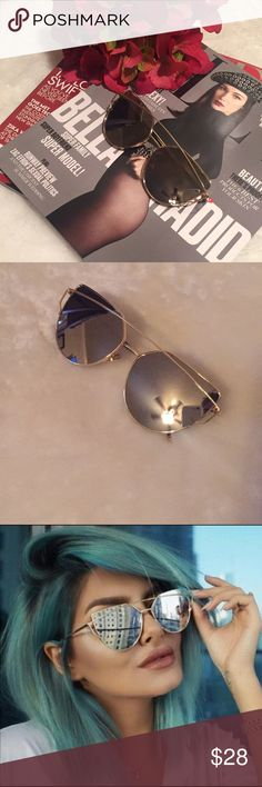 """SALEGorgeous Cat Eye Sunnies These gorgeous cat eye glasses are a summer must have! This listing is for the gold mirrored glasses. ⭐️Comes with glasses bag and cleaning cloth    (If """"applicable""""this item includes sales tax  to the nearest mil') Accessories Glasses"""