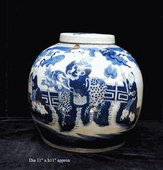 Vintage Chinese Blue & White Porcelain Large Ginger Jar - Golden Lotus Antiques