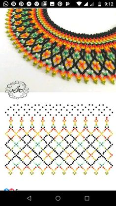 Diy Necklace Patterns, Beaded Jewelry Patterns, Beading Patterns, Beading Techniques, Beading Tutorials, Native American Beading, Beaded Necklace, Crochet Necklace, Bead Weaving