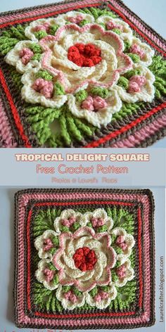 Tropical Delight – Crochet Square and Blanket [Free Pattern and Video Tutorial. - Tropical Delight – Crochet Square and Blanket [Free Pattern and Video Tutorial] – crochet - Crochet Motifs, Granny Square Crochet Pattern, Crochet Blocks, Crochet Flower Patterns, Crochet Afghans, Afghan Crochet Patterns, Crochet Squares, Blanket Crochet, Crochet Flowers