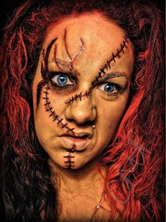 Chucky Makeup Look For Halloween Scars Made Out Of Scar Wax and ...