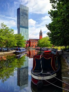 Castlefield in Manchester, England. Photo by Jason Connolly Manchester Travel, Places In England, Manchester England, Northern England, Salford, Canal Boat, Narrowboat, Travel Images, Great Britain