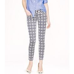 J. Crew toothpick pants J. Crew toothpick ankle jean in navy and white geometric print. Excellent like new condition. J. Crew Pants Ankle & Cropped