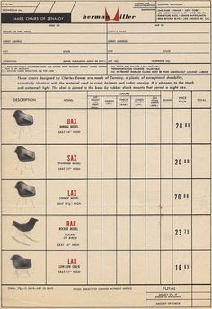 Eames Chairs of Zenaloy - 1951 Order Form