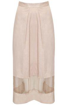 Pale pink pleated skirt  by Bhaavya Bhatnagar.  Shop now: http://www.perniaspopupshop.com/designers/sneha-arora  #shopnow #bhaavyabhatnagar #perniaspopupshop