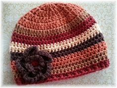Mixed Nuts-M2M Persnickety Fall Giggle Moon Harvest Party-Fall Stripe  Crochet Hat-Crochet Flower Clip-Crochet Newbown Toddler Baby Hat 4caa5e884b1