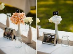 love the engagement photos on the tables! Even better to incorporate them with the mason jar theme :)