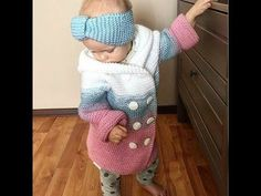 This Pin was discovered by Еле Baby Cardigan, Knit Baby Dress, Crochet Bebe, Crochet For Kids, Knit Crochet, Victorian Coat, Baby Coat, Baby Booties, Baby Knitting