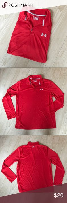 Like New Red Under Armour Quarter Zip This is a like new condition Red Under Armour Quarter Zip. It is the loose heat gear line. It is in great condition and is a size Large. Let me know if you have any questions and feel free to make an offer! 😊 Under Armour Jackets & Coats