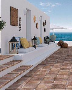 mediterranean style homes - Mediterranean Decor Tropical Home Decor, Tropical Houses, Modern Mediterranean Homes, Modern Homes, Mediterranean Architecture, Beautiful Beach Houses, Beautiful Beaches, Plans Architecture, Terrace Design