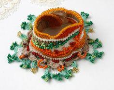 Bracelet Butterfly Cuff Crochet Bracelet Crochet door stasiSpark