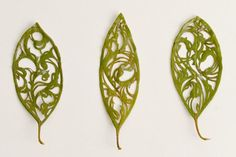 Hillary Fayle, a student of embroidery, has created a series of leaves that have been cut and embroidered with exquisite and delicate decorative patterns. Embroidery Leaf, Embroidery Designs, Leave Art, Stitch Witchery, Embroidered Leaves, Textiles, Altered Art, Art Lessons, Fiber Art