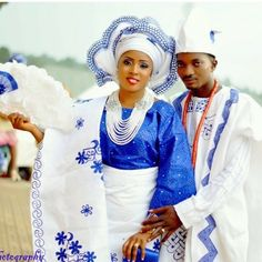 Nigerian wedding latest aso-oke colors white and blue