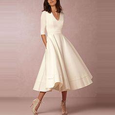 Women's A Line Dresses, Dresses Elegant, Evening Dresses With Sleeves, Modest Wedding Dresses, Stylish Dresses, Evening Gowns, White Dress With Sleeves, White A Line Dress, Bridesmaid Gowns