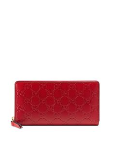 GUCCI Guccissima Zip-Around Wallet, Red. #gucci #bags #wallet #accessories #