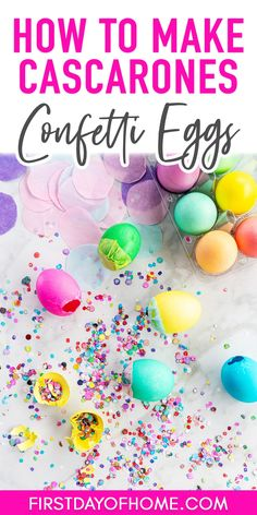 Learn how to decorate Easter eggs with traditional food coloring to make dyed confetti-filled eggs. These eggs (called cascarones) are a fun Easter tradition in the Southwest United States, and kids of all ages enjoy this fun Easter craft. It's a great multicultural craft for kids! #firstdayofhome Multicultural Crafts, Confetti Eggs, Craft Projects For Kids, Diy Projects, Easter Traditions, Diy Easter Decorations, Easter Treats, Spring Crafts, Food Coloring