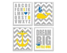 Nautical Nursery Decor, Whale Seagulls Dream Big Little One, Blue Yellow 8x10 Kids Ocean Theme, Chevron Nursery Art Prints on Etsy, $45.00