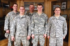 One dad and four sons now serve with the Missouri National Guard's 1-129th Field Artillery Battalion. Back row: Army Spc. Matthew Sipes and Army Sgt. 1st Class Charley Ramsey. Front row: Army Spc. Taylor Ramsey, Army Pvt. Mark Ramsey and Army Staff Sgt. Lance Ramsey. (Missouri National Guard photo by Jennifer Archdekin)