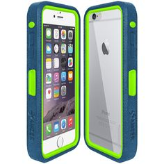 Amzer® CRUSTA™ Rugged Case Blue on Green Shell Tempered Glass with Holster for iPhone 6 Plus