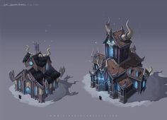 Death Knight Garrison by Jomaro Kindred Environment Concept, Environment Design, Game Environment, Buildings Artwork, Death Knight, Cartoon House, Digital Texture, Isometric Art, Prop Design