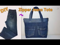 DIY ZIPPER JEANS TOTE | RECYCLE OLD JEANS | DIY BAG | TOTE BAG | BAG SEWING TUTORIAL - YouTube Denim Handbags, Denim Tote Bags, Diy Tote Bag, Denim Purse, Clutch Purse, Coin Purse, Diy Sac En Jean, Jean Diy, Old Jeans Recycle