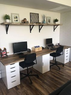 Ikea Home Office, Diy Office Desk, Home Office Organization, Home Office Space, Office Furniture, Home Furniture, Office Ideas, Office Decor, Office Designs