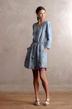 Plumage Chambray Dress - anthropologie.com