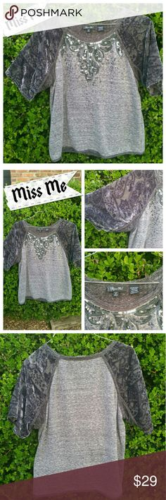 Miss Me Small Sequim Accented Top Shades of Gray Miss Me Small Sequim Accented Top. This is in barely used condition, excellent condition!!  65% Polyester 35%Rayon, very soft!! Miss Me Tops Tees - Short Sleeve