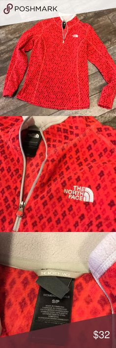 The Northface Cheerful 1/4 zip fleece Pretty red and maroon diamonds with grey accents in excellent condition.18 inches pit to pit is 25 inches. In cose to new condition The North Face Tops Sweatshirts & Hoodies