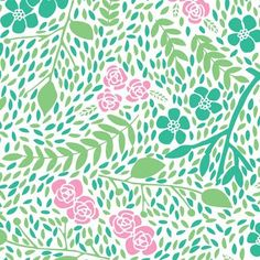 print and pattern floral pink green aqua teal turquoise