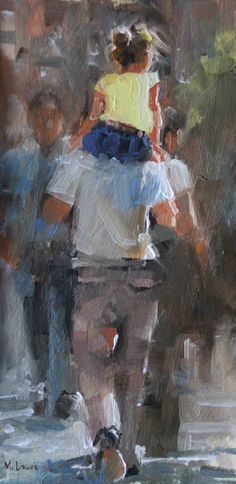Auf Papas Schultern von Mark Lague Oil ~ 12 x 6 Painting People, Figure Painting, Painting & Drawing, Painting Portraits, Oil Paintings, Kunst Inspo, Impressionist Art, People Art, Beautiful Paintings