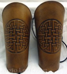 Weathered Celtic Leather Arm Bracers Cuffs Gauntlets LARP SCA Faire 1 | eBay