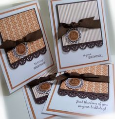 Stamps:  Mixed Medley  Paper:  Peach Parfait, Chocolate Chip, Whisper White, retired DSP  Ink:  Chocolate Chip  Accessories:  grosgrain ribbon  Tools:  scallop circle punch, circle punch, non SU border punch