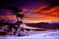 Wintry sunset, Lawes, Scotland, UK