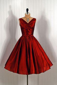 1950's Vintage Jonny Herbert Couture Metallic-Red Silk Shelf-Bust Plunge Rockabilly Bombshell Circle-Skirt Party Dress