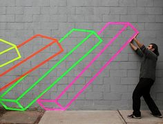 Aakash Nihalani is doing tape art in urban space. His work consists mostly of isometric rectangles and squares. He selectively places these graphics around New. Tape Art, Paper Tape, Best Graffiti, Street Art Graffiti, Willem De Kooning, Interactive Art, Illusion Art, Masking Tape, Washi Tape