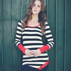 *Just In*Alexis Lee Striped Top Ivory/black/red Tops Tees - Long Sleeve