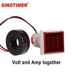 BW#A Square LED Digital Voltmeter Ammeter Voltage Current Frequency Tester Meter