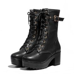 Winter Round Toe Chunky High Heel Lace Up Ankle Buckle Black PU Motorcycle Boots #vegan #PUleather