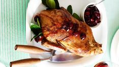 Roast duck with cherry sauce