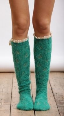 turquoise knit socks with frilly lace.