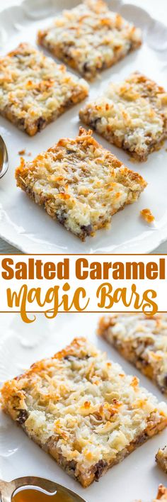 Salted Caramel Magic Bars - A fun twist on the classic bars because everything is better with salted caramel!! Fast, easy, no-mixer recipe that'll be a hit with everyone!!