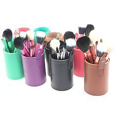 Pro High Quality 13 pc'er Natural gedehår makeup børste sæt med Color Brush Cylinder Tube (5 farver) – DKK kr. 182
