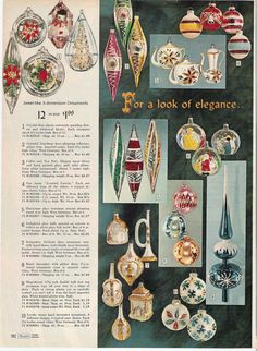 Ornaments in Sears Christmas Catalog, 1966