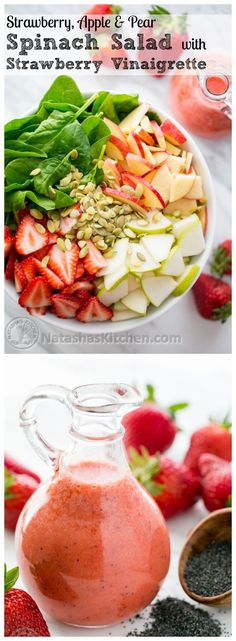 Strawberry, Apple  Pear Spinach Salad with a Strawberry Vinaigrette. Healthy and delicious! @natashaskitchen