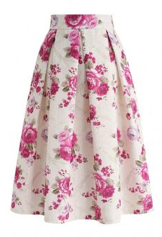 Floral Vintage Embossed Pleated Midi Skirt in Cream - Retro, Indie and Unique Fashion Pleated Midi Skirt, Dress Skirt, Navy Skirt, Midi Skirts, Chiffon Maxi, Lace Maxi, Prom Dress, Mode Outfits, Skirt Outfits