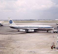 1968 Pan Am Boeing 720 tail number Clipper Carib on the ramp at Ton Son Nhut Airport, Saigon, Vietnam. Boeing 720, Boeing Aircraft, B720, Pan Am, Commercial Aircraft, Civil Aviation, Military Aircraft, American, Saigon Vietnam