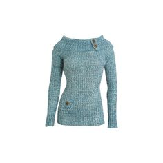 Boat Neck Button Sweater - Teen Clothing by Wet Seal ($27) ❤ liked on Polyvore featuring tops, sweaters, shirts, long sleeves, blue, shirt sweater, button shirt, blue sweater, boatneck shirt and blue top